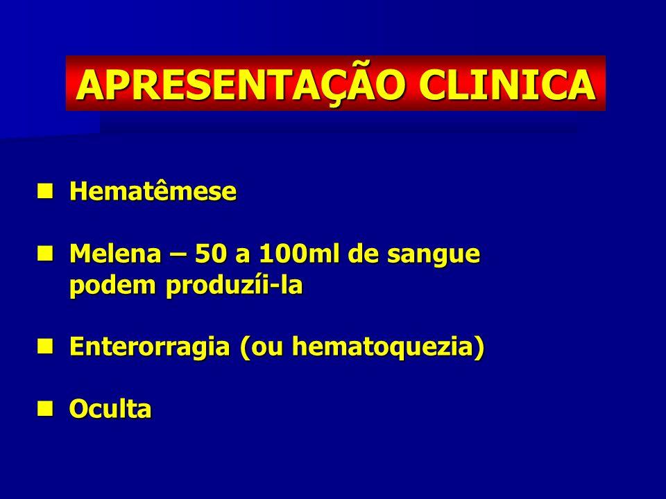 APRESENTAÇÃO CLINICA Hematêmese Hematêmese Melena – 50 a 100ml de sangue Melena – 50 a 100ml de sangue podem produzíi-la Enterorragia (ou hematoquezia