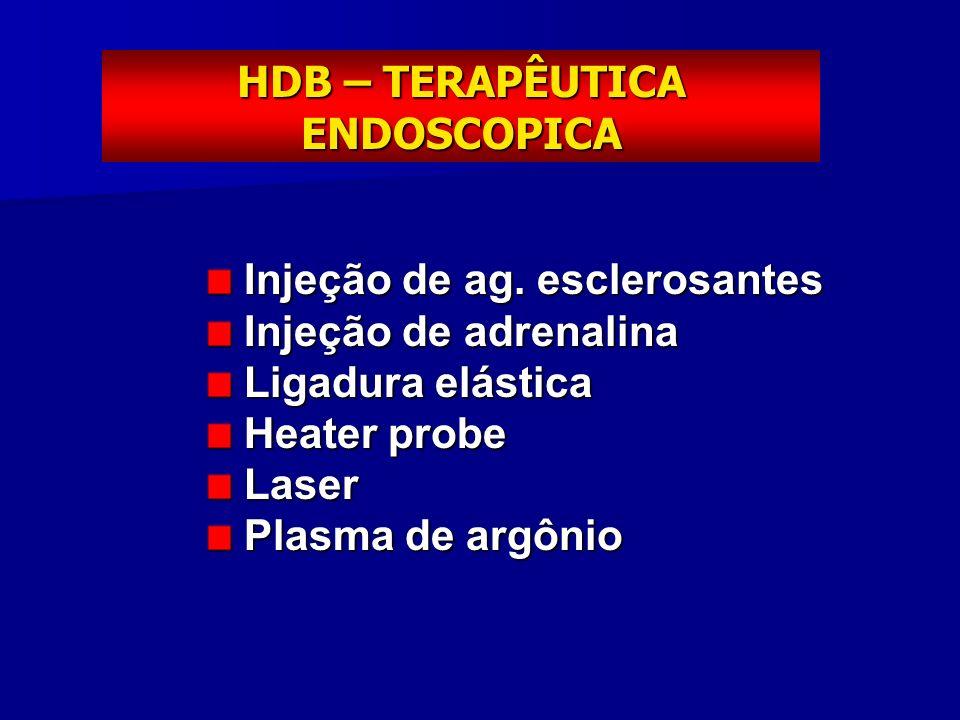 HDB – TERAPÊUTICA ENDOSCOPICA Injeção de ag. esclerosantes Injeção de ag. esclerosantes Injeção de adrenalina Injeção de adrenalina Ligadura elástica