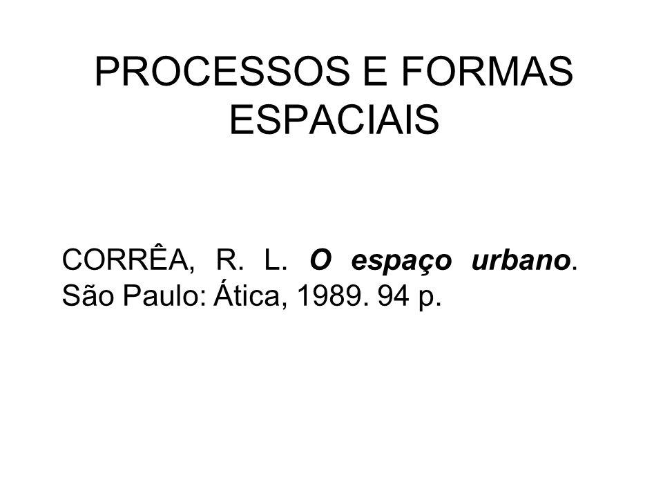PROCESSOS E FORMAS ESPACIAIS CORRÊA, R. L. O espaço urbano. São Paulo: Ática, 1989. 94 p.