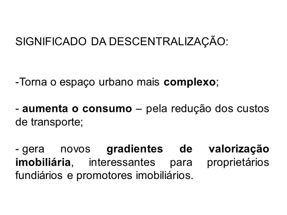 SIGNIFICADO DA DESCENTRALIZAÇÃO: -Torna o espaço urbano mais complexo; - aumenta o consumo – pela redução dos custos de transporte; - gera novos gradi
