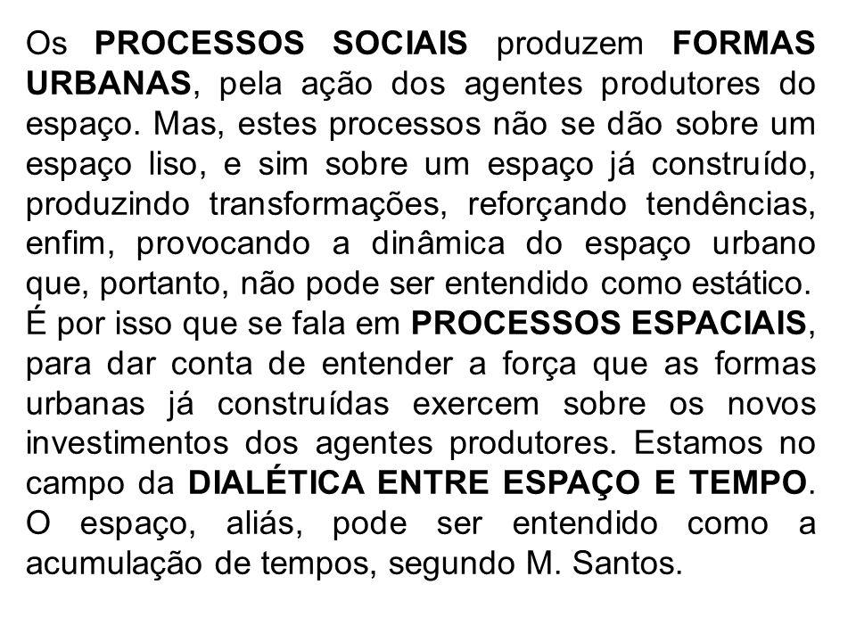 Os PROCESSOS SOCIAIS produzem FORMAS URBANAS, pela ação dos agentes produtores do espaço. Mas, estes processos não se dão sobre um espaço liso, e sim