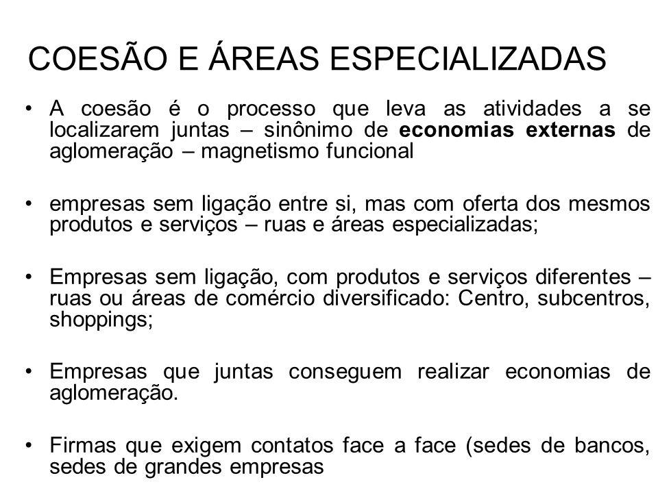 COESÃO E ÁREAS ESPECIALIZADAS A coesão é o processo que leva as atividades a se localizarem juntas – sinônimo de economias externas de aglomeração – m
