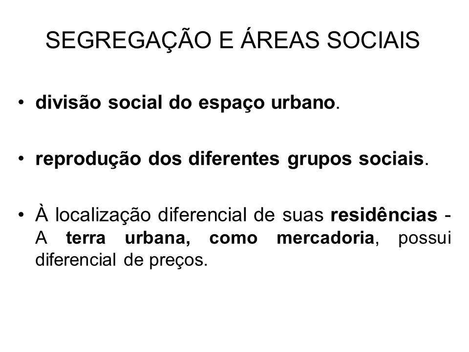 SEGREGAÇÃO E ÁREAS SOCIAIS divisão social do espaço urbano. reprodução dos diferentes grupos sociais. À localização diferencial de suas residências -