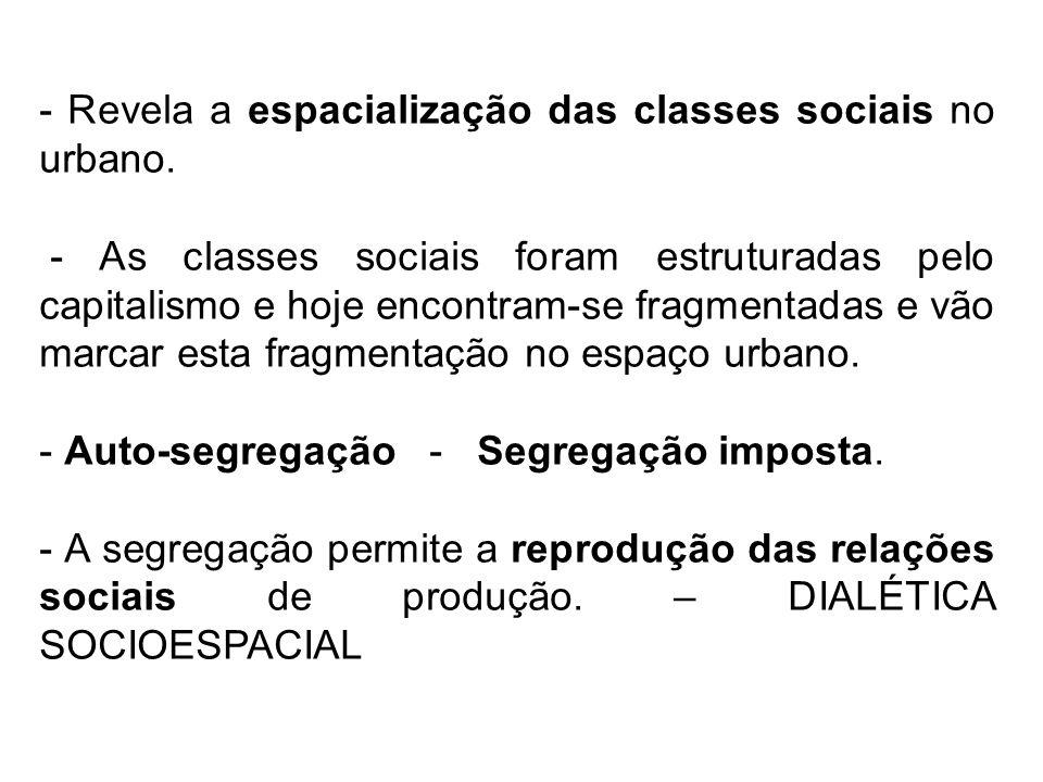 - Revela a espacialização das classes sociais no urbano. - As classes sociais foram estruturadas pelo capitalismo e hoje encontram-se fragmentadas e v