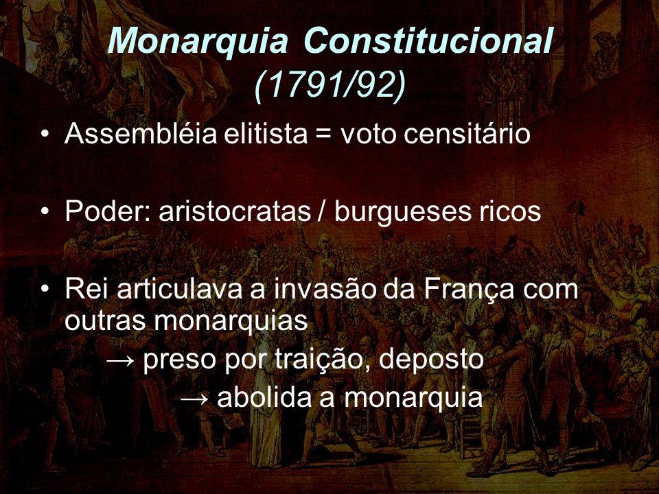 Monarquia Constitucional (1791/92) Assembléia elitista = voto censitário Poder: aristocratas / burgueses ricos Rei articulava a invasão da França com outras monarquias preso por traição, deposto abolida a monarquia