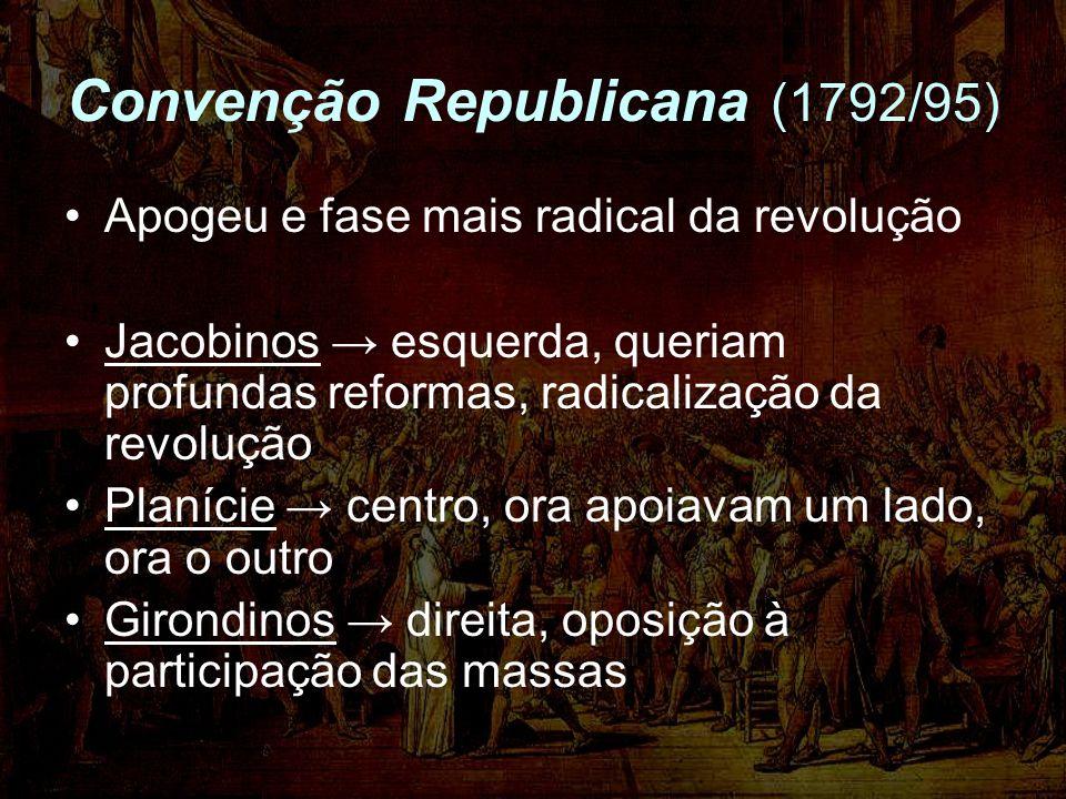Convenção Republicana (1792/95) Apogeu e fase mais radical da revolução Jacobinos esquerda, queriam profundas reformas, radicalização da revolução Pla
