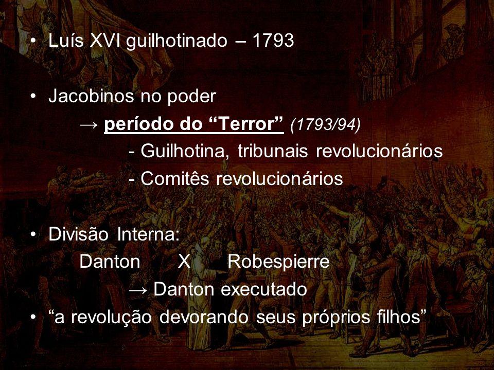 Luís XVI guilhotinado – 1793 Jacobinos no poder período do Terror (1793/94) - Guilhotina, tribunais revolucionários - Comitês revolucionários Divisão Interna: Danton X Robespierre Danton executado a revolução devorando seus próprios filhos