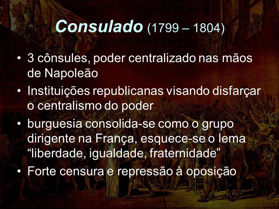 Consulado (1799 – 1804) 3 cônsules, poder centralizado nas mãos de Napoleão Instituições republicanas visando disfarçar o centralismo do poder burgues
