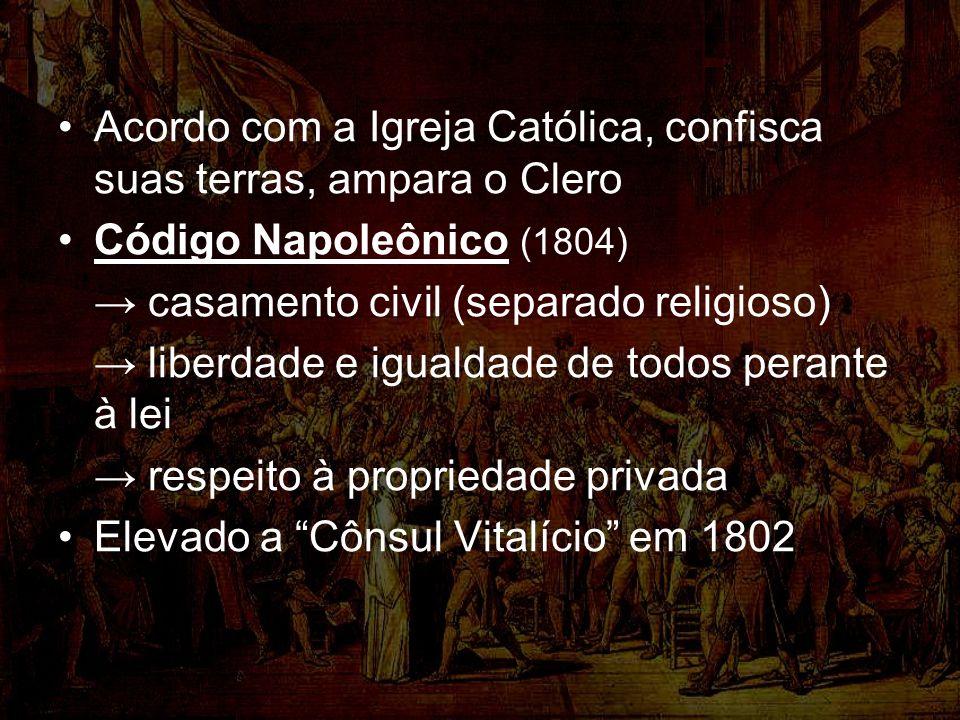 Acordo com a Igreja Católica, confisca suas terras, ampara o Clero Código Napoleônico (1804) casamento civil (separado religioso) liberdade e igualdade de todos perante à lei respeito à propriedade privada Elevado a Cônsul Vitalício em 1802