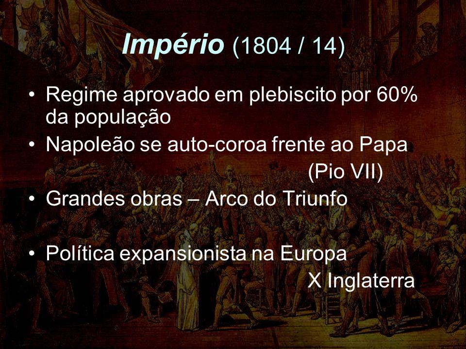 Império (1804 / 14) Regime aprovado em plebiscito por 60% da população Napoleão se auto-coroa frente ao Papa (Pio VII) Grandes obras – Arco do Triunfo Política expansionista na Europa X Inglaterra