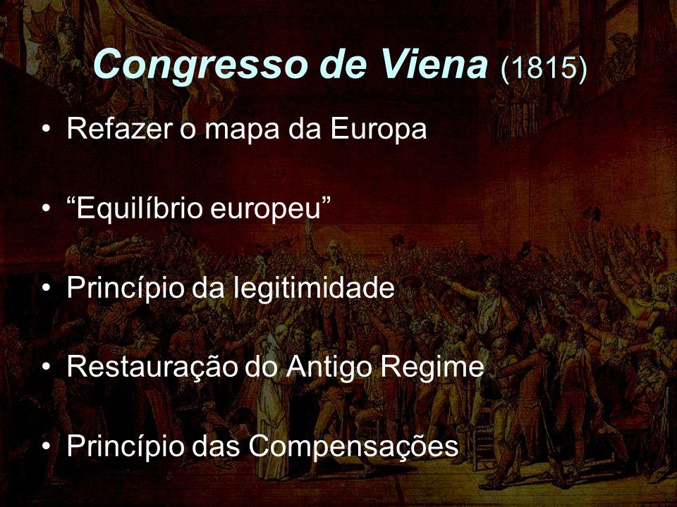 Congresso de Viena (1815) Refazer o mapa da Europa Equilíbrio europeu Princípio da legitimidade Restauração do Antigo Regime Princípio das Compensaçõe