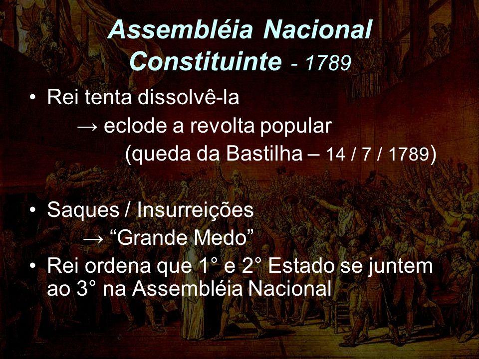 Assembléia Nacional Constituinte - 1789 Rei tenta dissolvê-la eclode a revolta popular (queda da Bastilha – 14 / 7 / 1789 ) Saques / Insurreições Grande Medo Rei ordena que 1° e 2° Estado se juntem ao 3° na Assembléia Nacional