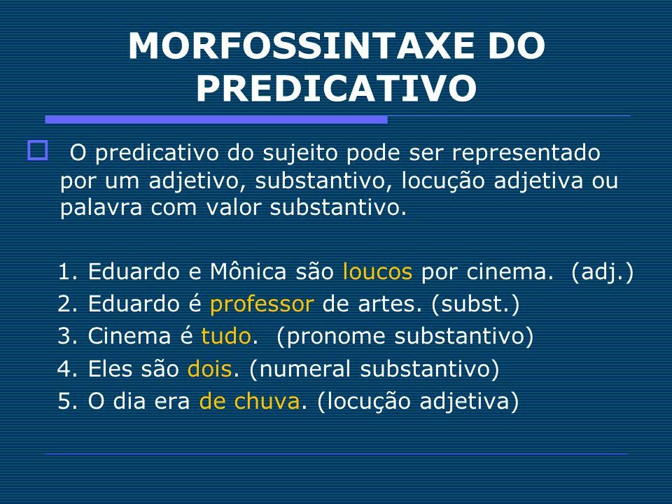 MORFOSSINTAXE DO PREDICATIVO O predicativo do sujeito pode ser representado por um adjetivo, substantivo, locução adjetiva ou palavra com valor substa