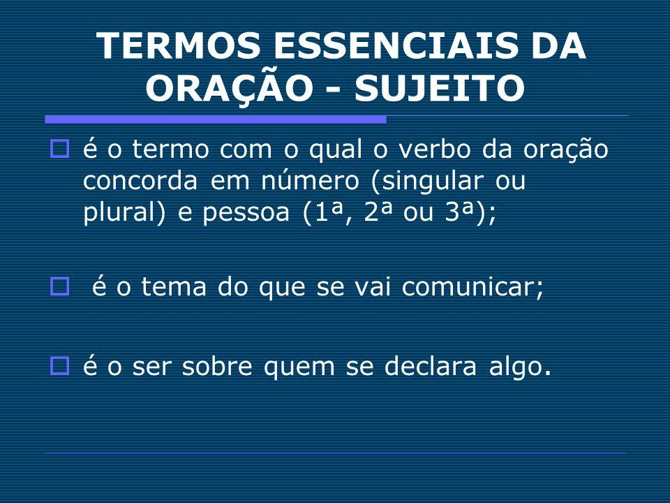 MORFOSSINTAXE DO SUJEITO Núcleo representado por um substantivo ou por palavra com valor de substantivo (palavra substantivada, pronome substantivo, numeral substantivo).