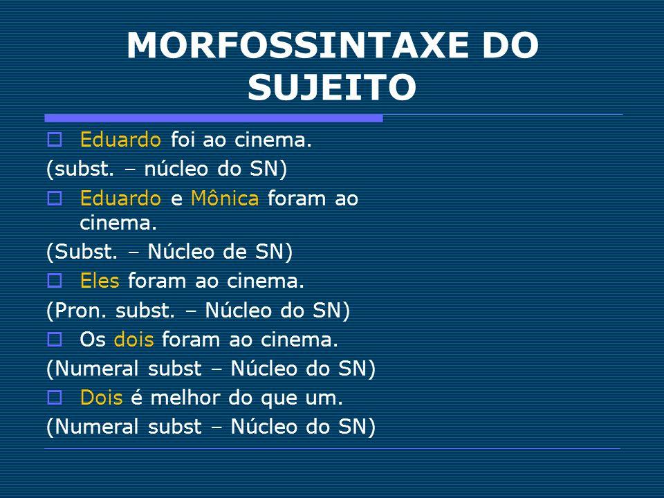 MORFOSSINTAXE DO SUJEITO Eduardo foi ao cinema. (subst. – núcleo do SN) Eduardo e Mônica foram ao cinema. (Subst. – Núcleo de SN) Eles foram ao cinema