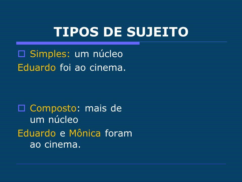 TIPOS DE SUJEITO Simples: um núcleo Eduardo foi ao cinema. Composto: mais de um núcleo Eduardo e Mônica foram ao cinema.
