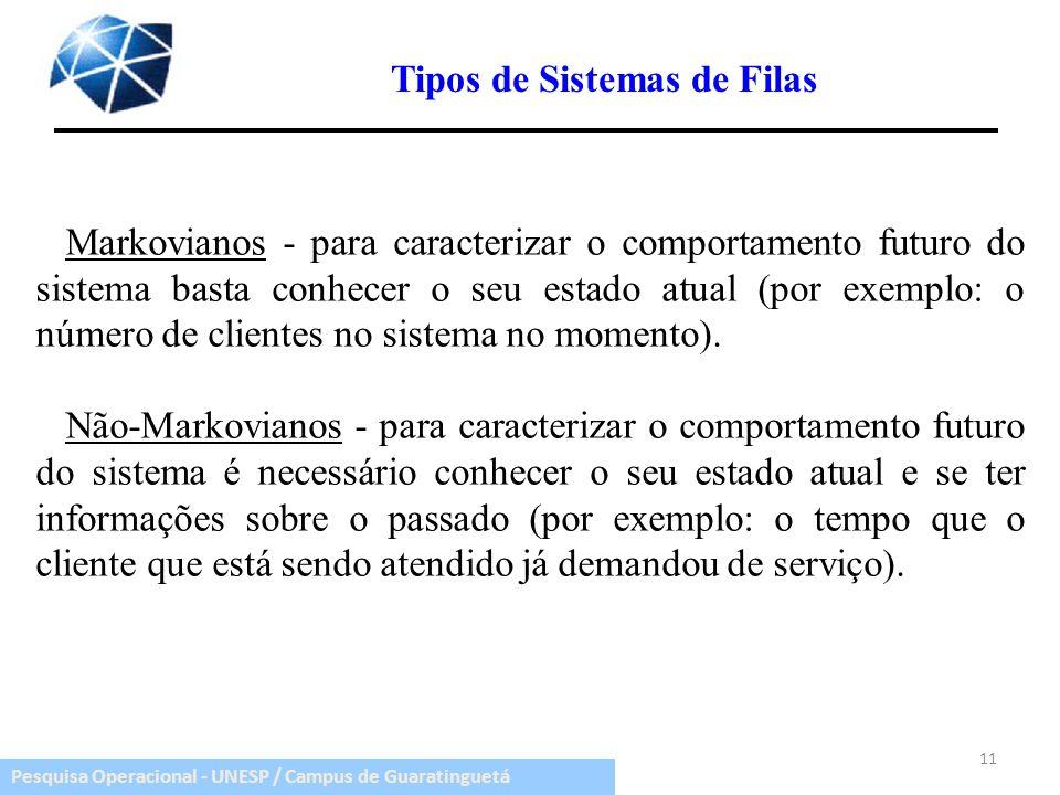 Pesquisa Operacional - UNESP / Campus de Guaratinguetá Tipos de Sistemas de Filas Markovianos - para caracterizar o comportamento futuro do sistema ba