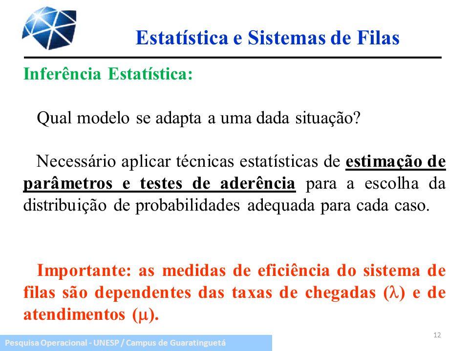 Pesquisa Operacional - UNESP / Campus de Guaratinguetá Estatística e Sistemas de Filas Inferência Estatística: Qual modelo se adapta a uma dada situaç