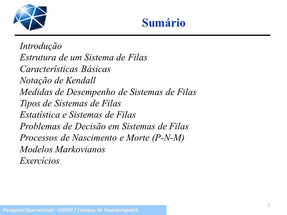 Pesquisa Operacional - UNESP / Campus de Guaratinguetá Sumário 2 Introdução Estrutura de um Sistema de Filas Características Básicas Notação de Kendal