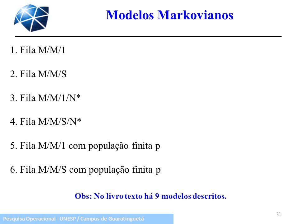 Pesquisa Operacional - UNESP / Campus de Guaratinguetá Modelos Markovianos 1. Fila M/M/1 2. Fila M/M/S 3. Fila M/M/1/N* 4. Fila M/M/S/N* 5. Fila M/M/1