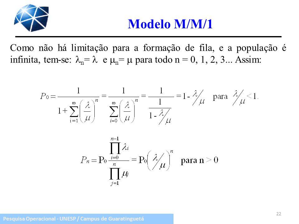 Pesquisa Operacional - UNESP / Campus de Guaratinguetá Modelo M/M/1 Como não há limitação para a formação de fila, e a população é infinita, tem-se: n