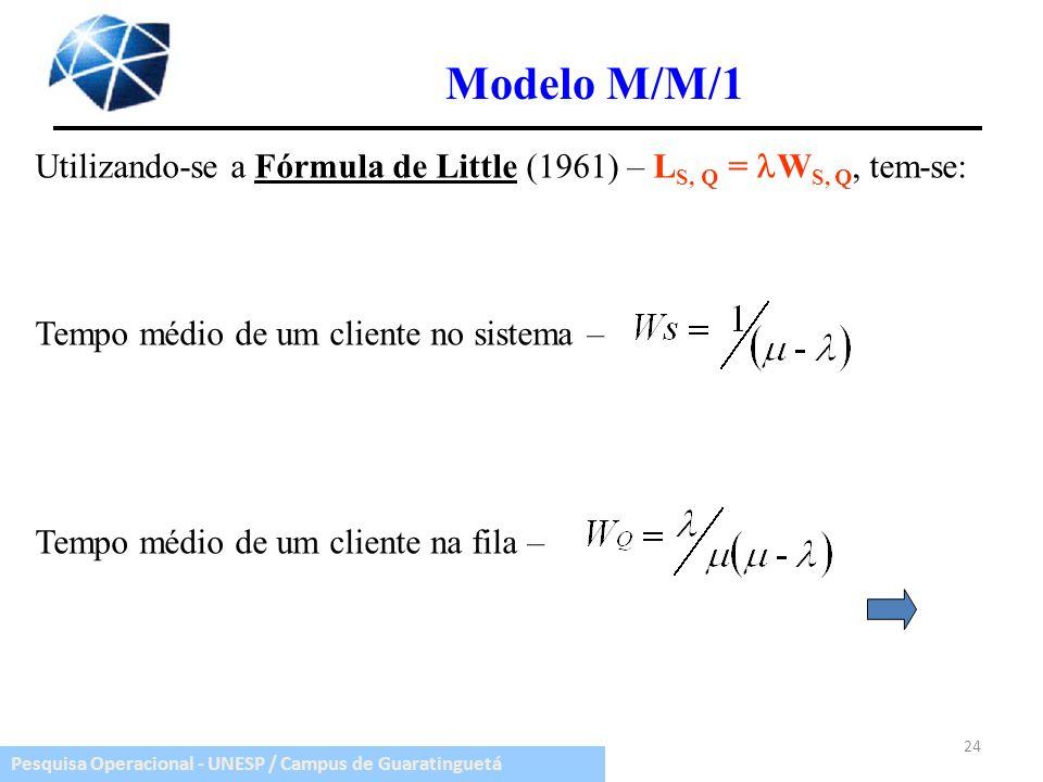 Pesquisa Operacional - UNESP / Campus de Guaratinguetá Utilizando-se a Fórmula de Little (1961) – L S, Q = W S, Q, tem-se: Tempo médio de um cliente n