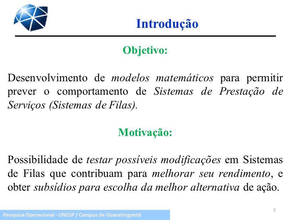 Pesquisa Operacional - UNESP / Campus de Guaratinguetá Introdução Objetivo: Desenvolvimento de modelos matemáticos para permitir prever o comportament