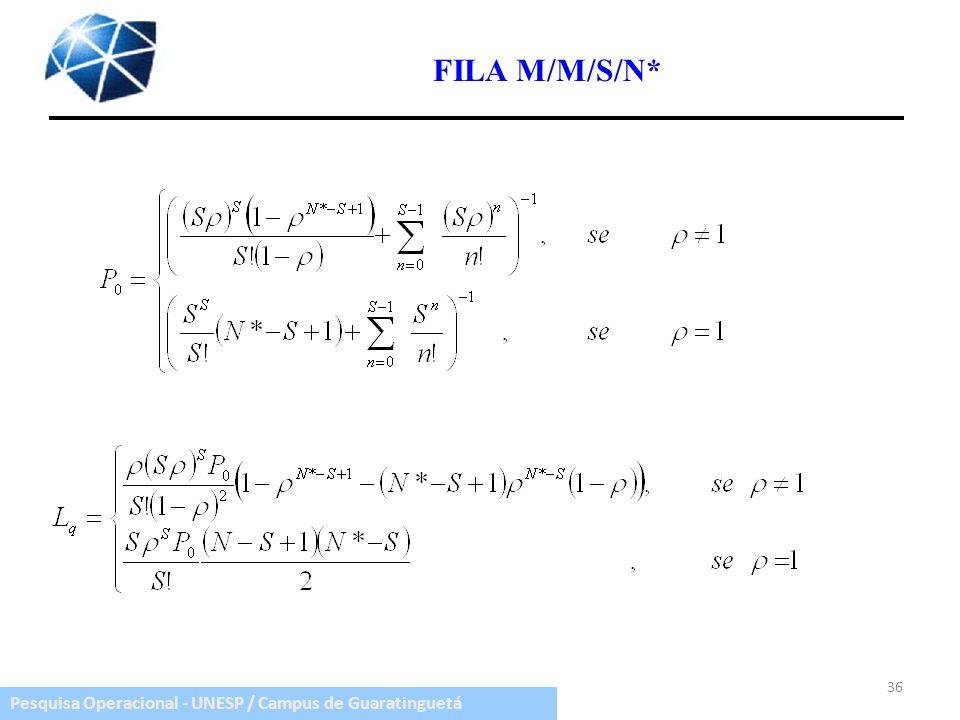 Pesquisa Operacional - UNESP / Campus de Guaratinguetá 36 FILA M/M/S/N*