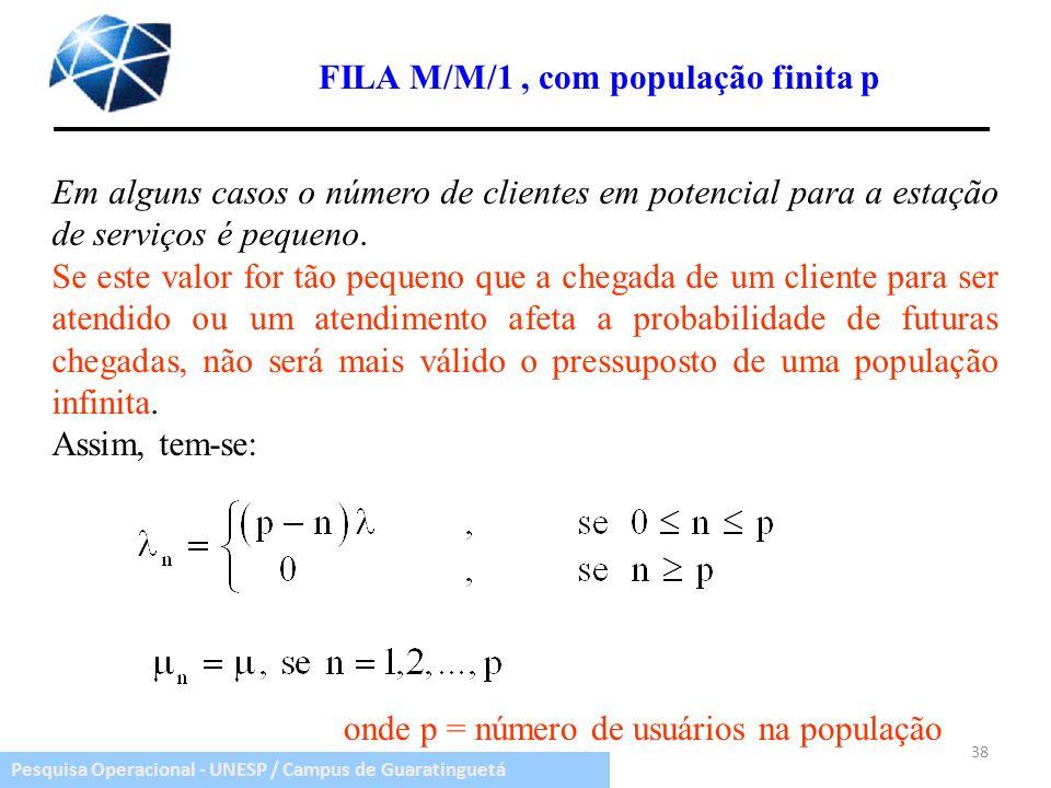 Pesquisa Operacional - UNESP / Campus de Guaratinguetá 38 FILA M/M/1, com população finita p Em alguns casos o número de clientes em potencial para a