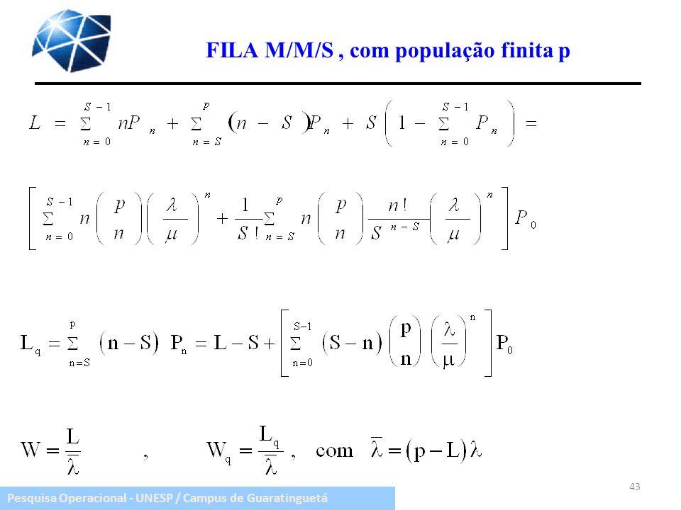 Pesquisa Operacional - UNESP / Campus de Guaratinguetá 43 FILA M/M/S, com população finita p