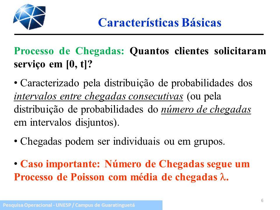 Pesquisa Operacional - UNESP / Campus de Guaratinguetá Características Básicas Processo de Chegadas: Quantos clientes solicitaram serviço em [0, t]? 6