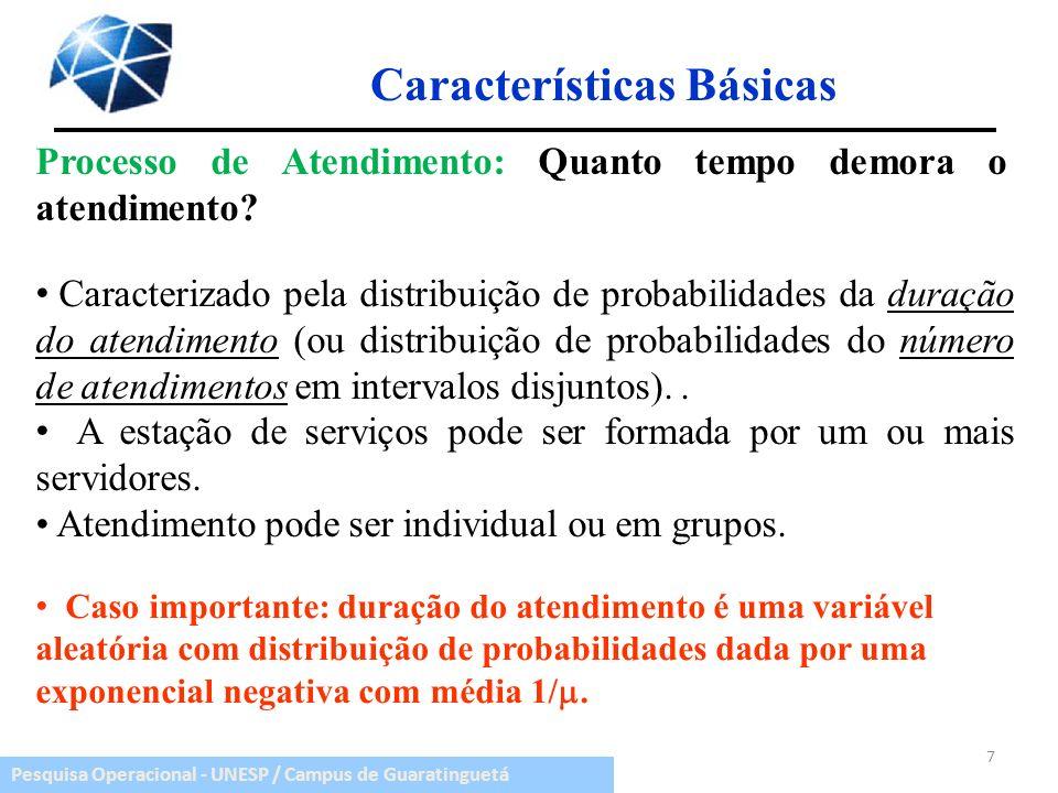 Pesquisa Operacional - UNESP / Campus de Guaratinguetá Processo de Atendimento: Quanto tempo demora o atendimento? Características Básicas 7 Caso impo