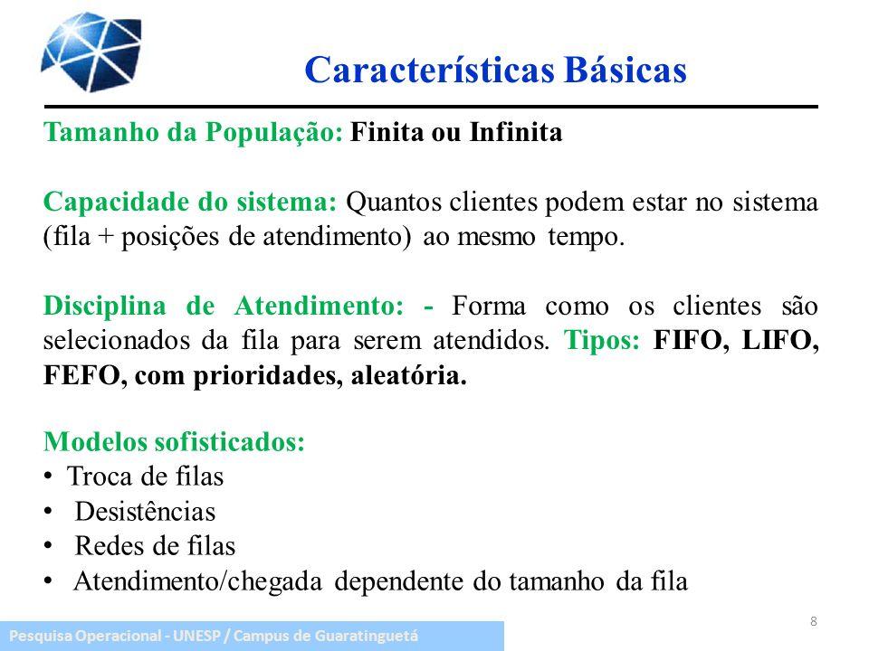 Pesquisa Operacional - UNESP / Campus de Guaratinguetá Características Básicas Tamanho da População: Finita ou Infinita Capacidade do sistema: Quantos