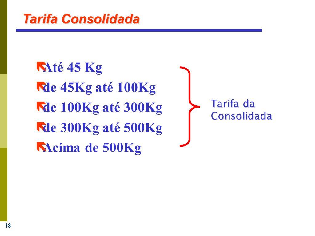 18 Tarifa Consolidada ëAté 45 Kg ëde 45Kg até 100Kg ëde 100Kg até 300Kg ëde 300Kg até 500Kg Acima de 500Kg Tarifa da Consolidada