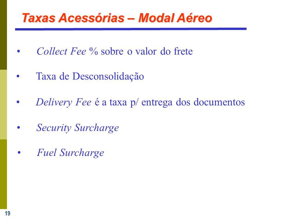 19 Collect Fee % sobre o valor do frete Taxa de Desconsolidação Delivery Fee é a taxa p/ entrega dos documentos Taxas Acessórias – Modal Aéreo Fuel Surcharge Security Surcharge