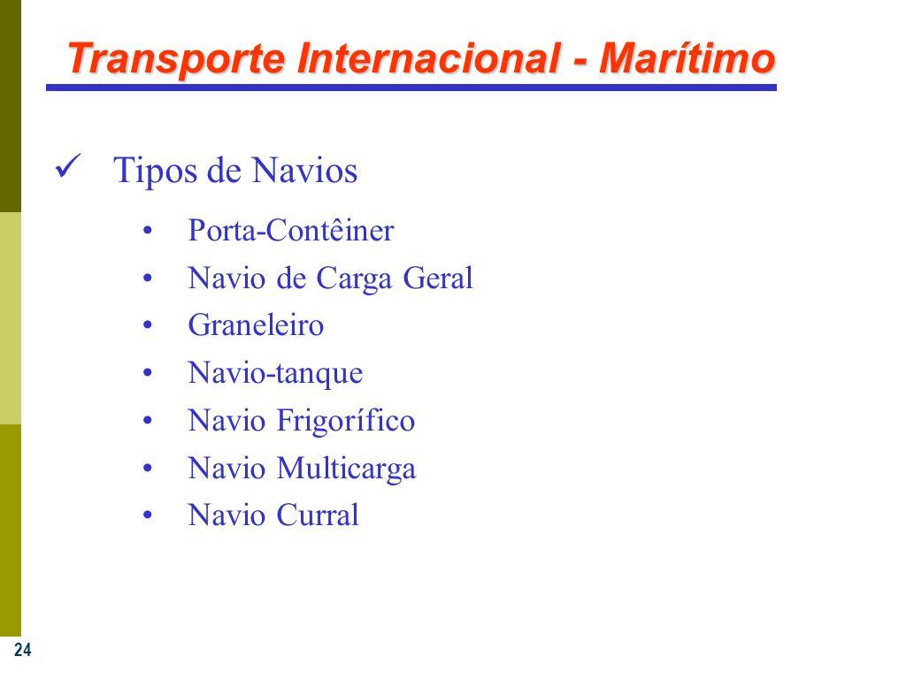 24 Transporte Internacional - Marítimo Tipos de Navios Porta-Contêiner Navio de Carga Geral Graneleiro Navio-tanque Navio Frigorífico Navio Multicarga Navio Curral