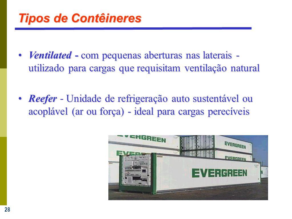 28 Ventilated - com pequenas aberturas nas laterais - utilizado para cargas que requisitam ventilação naturalVentilated - com pequenas aberturas nas laterais - utilizado para cargas que requisitam ventilação natural ReeferUnidade de refrigeração auto sustentável ou acoplável (ar ou força) - ideal para cargas perecíveisReefer - Unidade de refrigeração auto sustentável ou acoplável (ar ou força) - ideal para cargas perecíveis Tipos de Contêineres