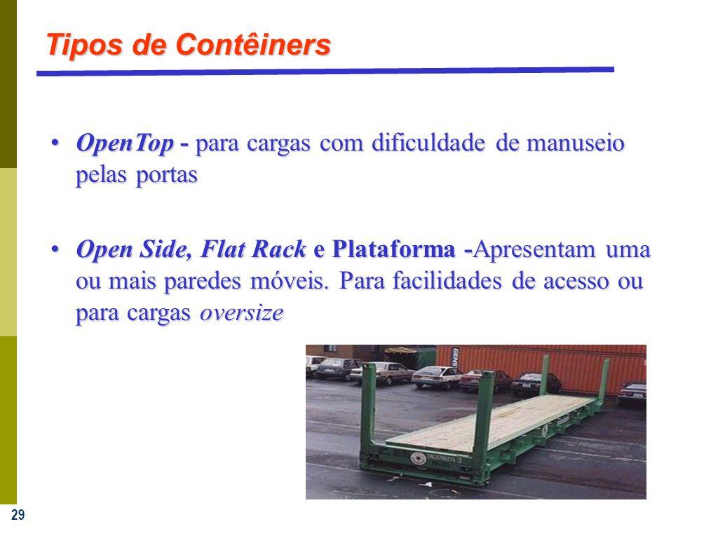 29 OpenTop - para cargas com dificuldade de manuseio pelas portasOpenTop - para cargas com dificuldade de manuseio pelas portas Open Side, Flat Rack e Plataforma -Apresentam uma ou mais paredes móveis.