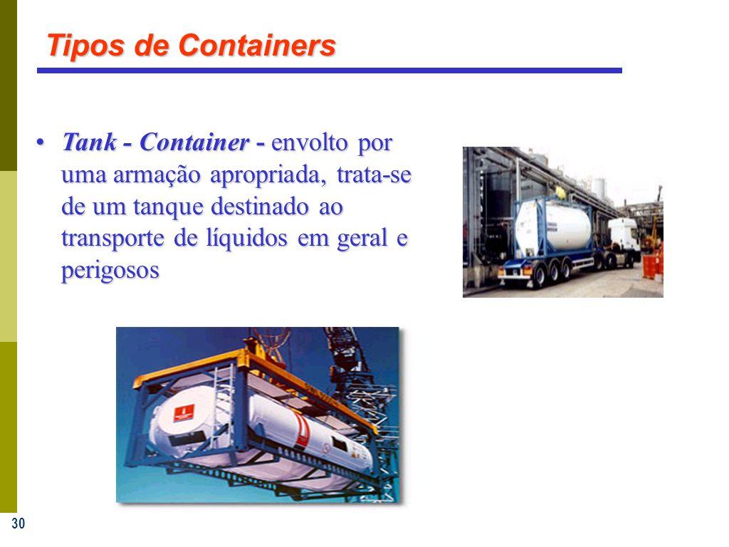 30 Tank - Container - envolto por uma armação apropriada, trata-se de um tanque destinado ao transporte de líquidos em geral e perigososTank - Container - envolto por uma armação apropriada, trata-se de um tanque destinado ao transporte de líquidos em geral e perigosos Tipos de Containers