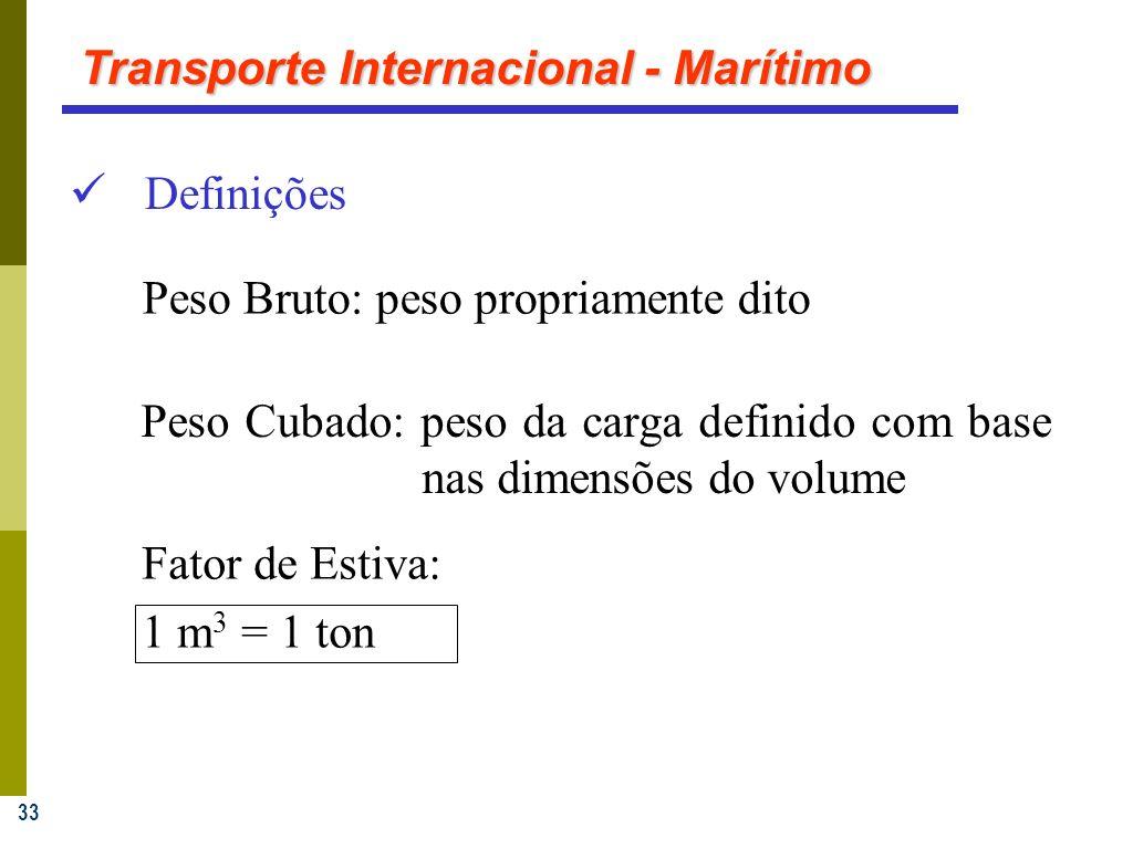 33 Definições Peso Cubado: peso da carga definido com base nas dimensões do volume Fator de Estiva: 1 m 3 = 1 ton Peso Bruto: peso propriamente dito Transporte Internacional - Marítimo