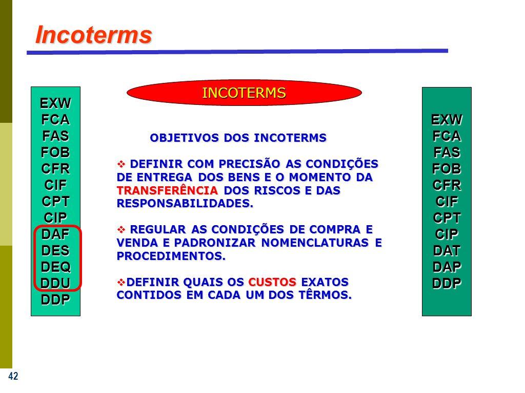 42 Incoterms OBJETIVOS DOS INCOTERMS OBJETIVOS DOS INCOTERMS DEFINIR COM PRECISÃO AS CONDIÇÕES DE ENTREGA DOS BENS E O MOMENTO DA TRANSFERÊNCIA DOS RI
