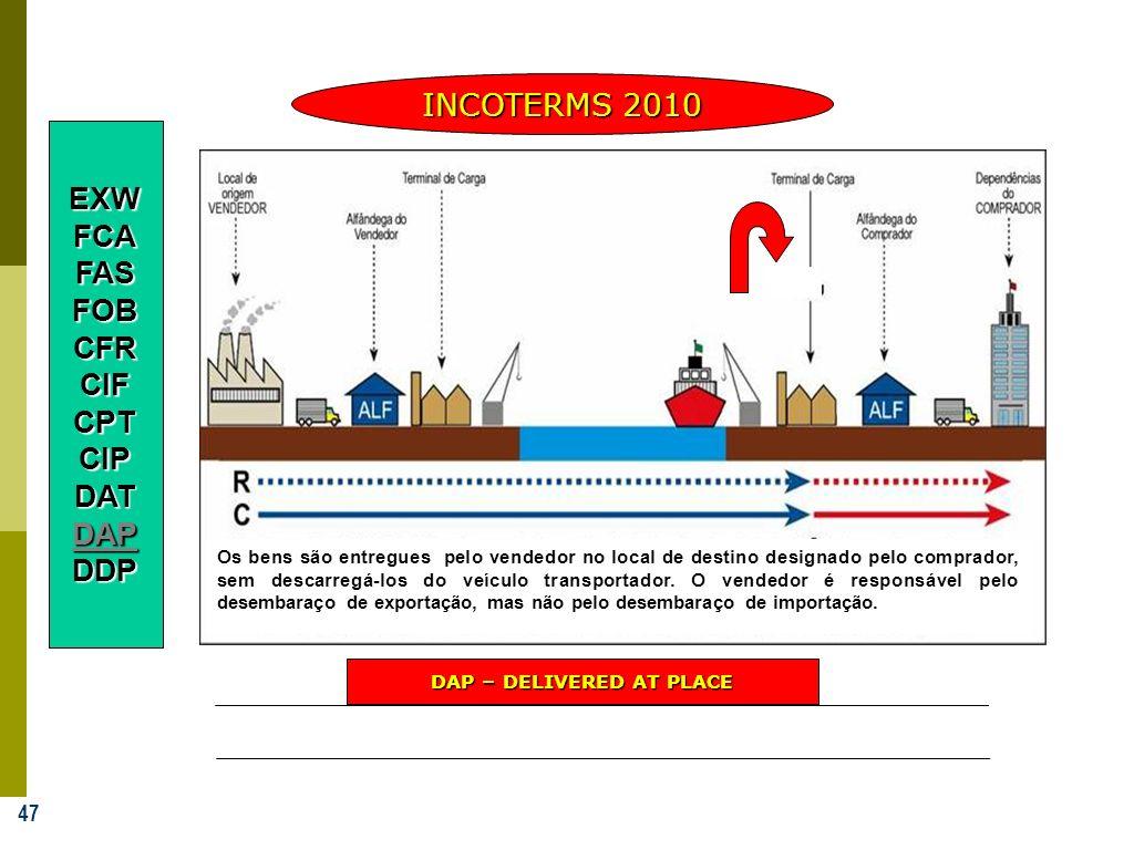 47 INCOTERMS 2010 DAP – DELIVERED AT PLACE EXWFCAFASFOBCFRCIFCPTCIPDATDAPDDP Os bens são entregues pelo vendedor no local de destino designado pelo co