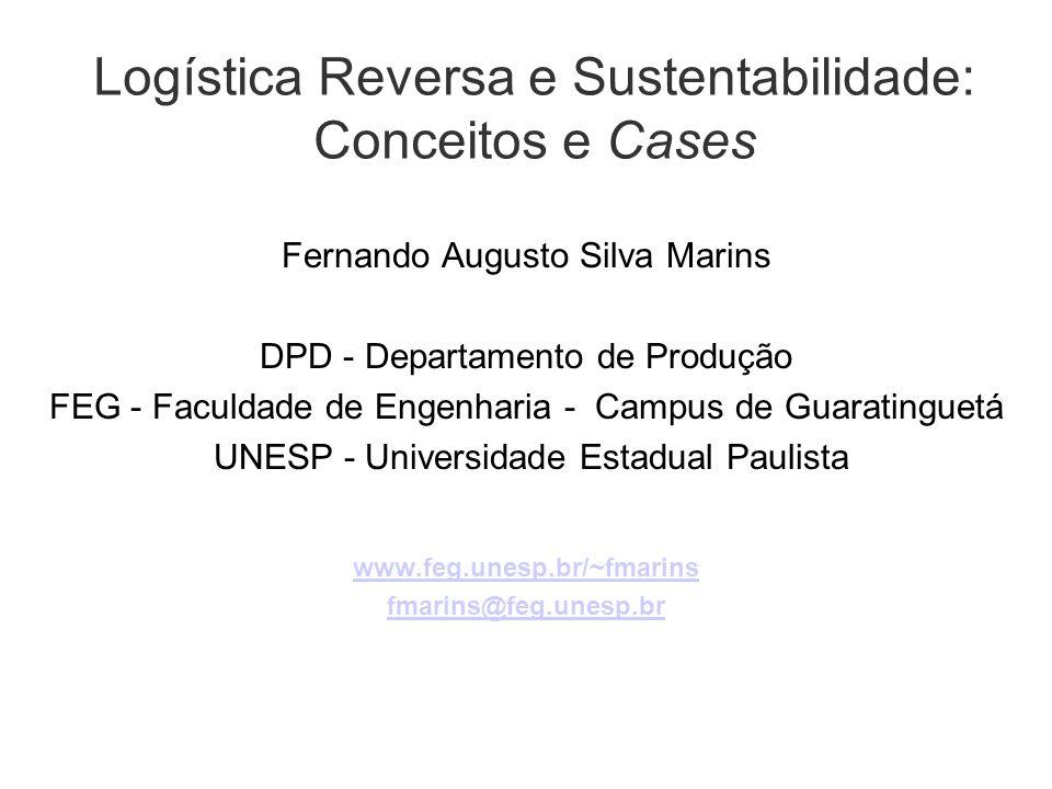 2 Sumário Conceitos Gerais: SCM, Logística, Sustentabilidade Logística Reversa Dificuldades de Implantação Modelos Quantitativos Cases Comentários/Leituras recomendadas