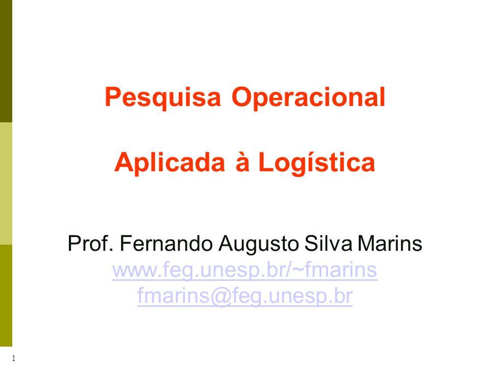 1 Pesquisa Operacional Aplicada à Logística Prof. Fernando Augusto Silva Marins www.feg.unesp.br/~fmarins fmarins@feg.unesp.br www.feg.unesp.br/~fmari