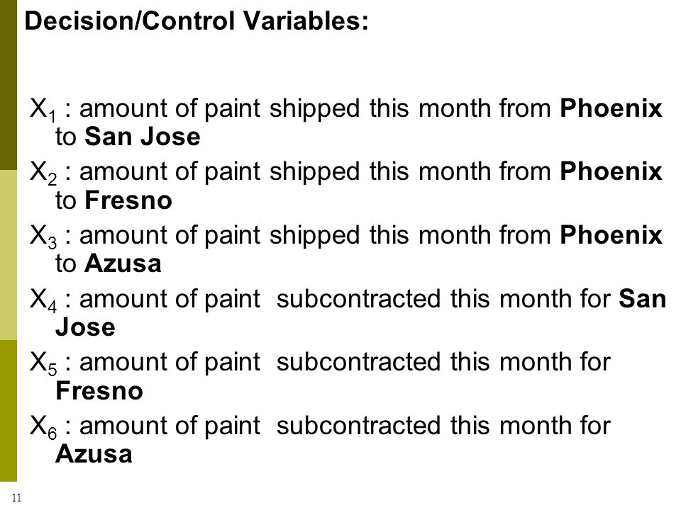 11 X 1 : amount of paint shipped this month from Phoenix to San Jose X 2 : amount of paint shipped this month from Phoenix to Fresno X 3 : amount of p