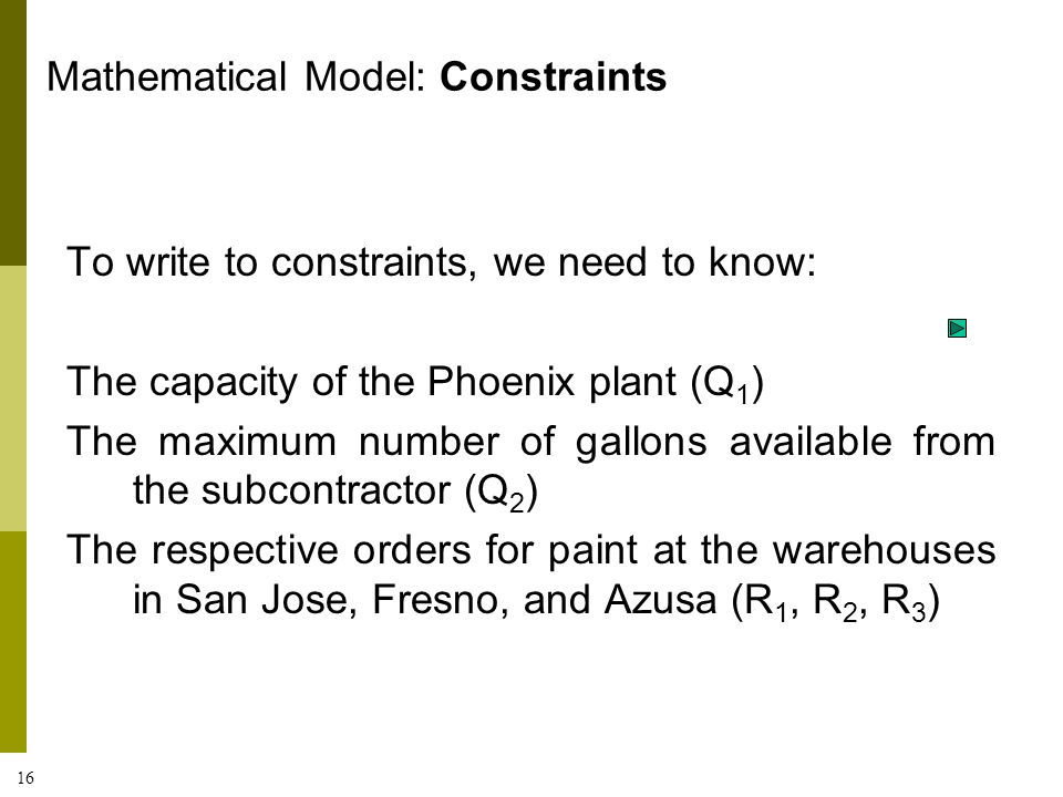 16 To write to constraints, we need to know: The capacity of the Phoenix plant (Q 1 ) The maximum number of gallons available from the subcontractor (