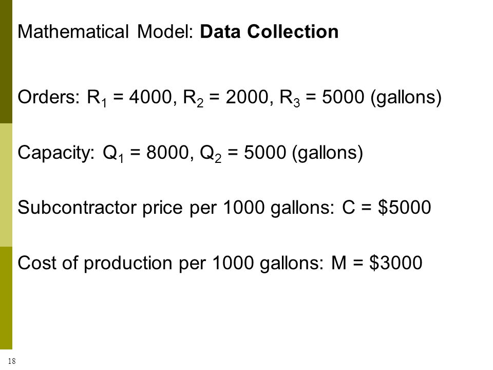 18 Orders: R 1 = 4000, R 2 = 2000, R 3 = 5000 (gallons) Capacity: Q 1 = 8000, Q 2 = 5000 (gallons) Subcontractor price per 1000 gallons: C = $5000 Cos