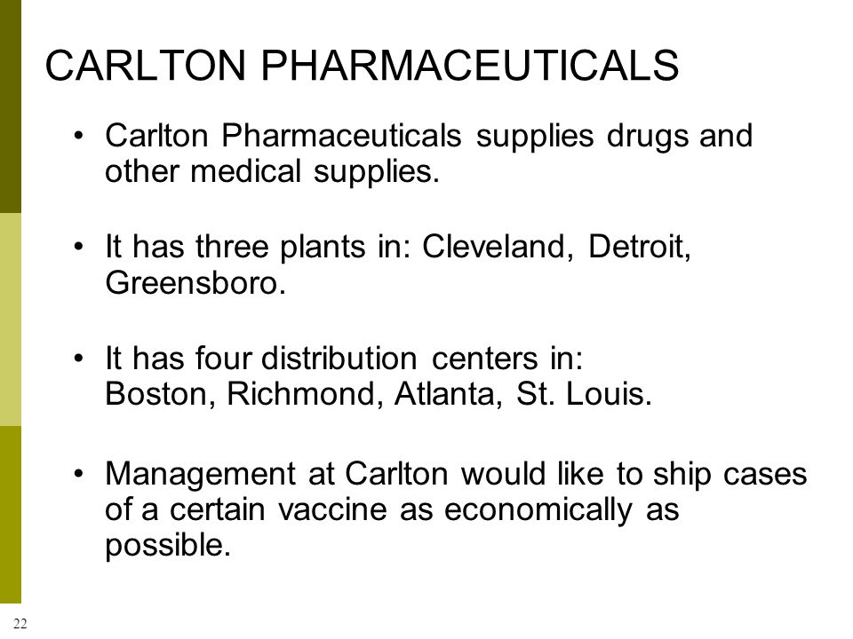 22 CARLTON PHARMACEUTICALS Carlton Pharmaceuticals supplies drugs and other medical supplies. It has three plants in: Cleveland, Detroit, Greensboro.
