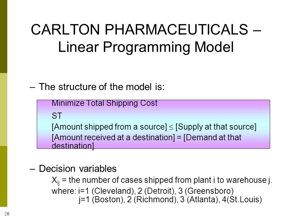 26 –The structure of the model is: Minimize Total Shipping Cost ST [Amount shipped from a source] [Supply at that source] [Amount received at a destin