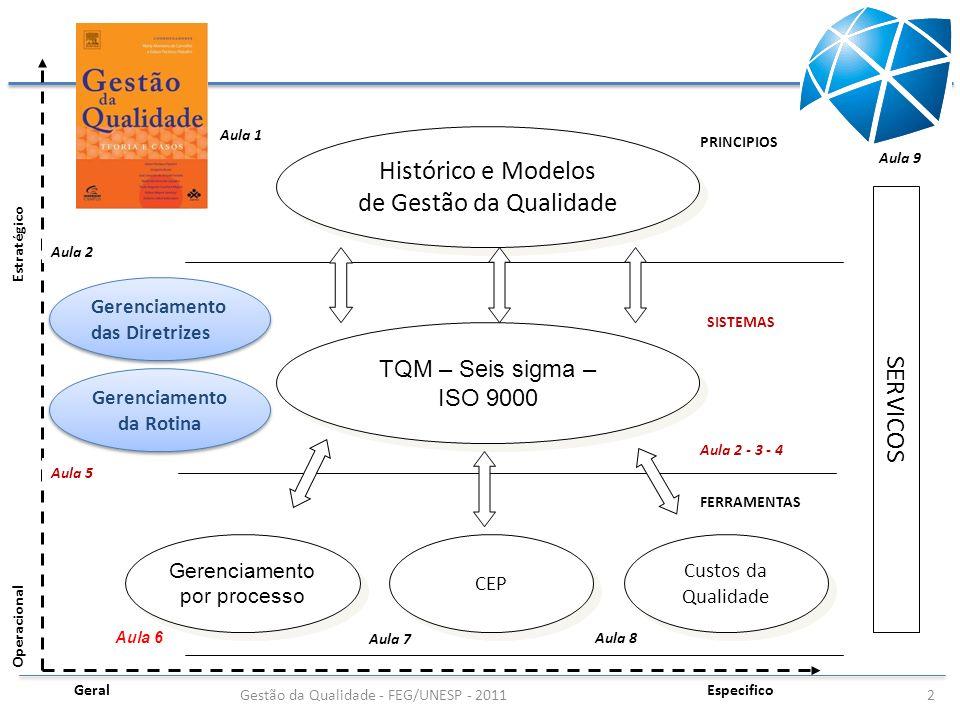 Aplicação do gerenciamento das diretrizes Conhecimento e prática na utilização das ferramentas para diagnósticos e solução de problemas Comprovação da existência de recursos para revisar e mudar o processo Gestão da Qualidade - FEG/UNESP - 2011 13